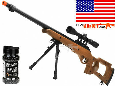 Airsoft Spring Powered SNIPER Rifle 500 FPS Bolt Action Scope Bipod 2000BBs .36g