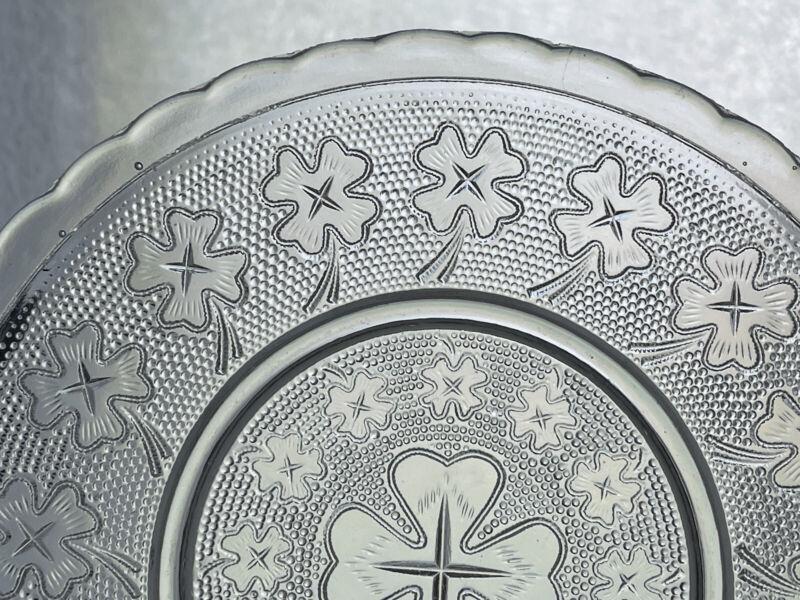 Set Of 8 Walther 4-leaf Clover Pressed Glass Plates Antique Vintage #8001 EAPG