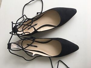 Zara Black Suede Pointy Flats with Ankle Straps