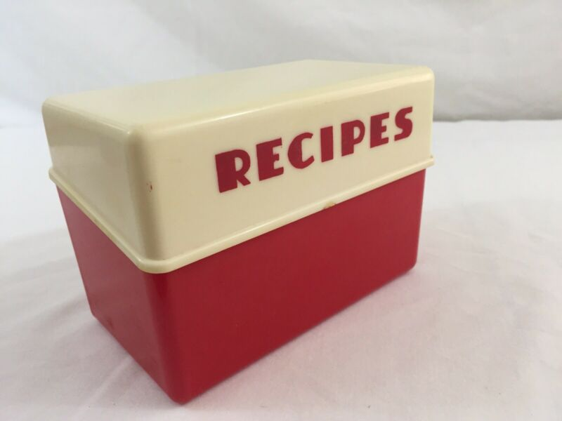 "VTG Recipe Box Red White Art Deco Style 5"" Wide Universal Plastics Dallas Texas"