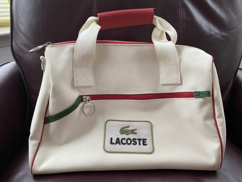 Lacoste Tennis Shoe Bag.White W  Red And Green Piping.Two Accesory Zip Pockets.