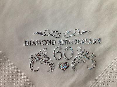 15 SPARKLING DIAMOND 60TH WEDDING ANNIVERSARY QUALITY WHITE  NAPKINS & -