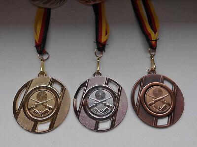 Schützen Schießen Pokal Kids Medaillen 3er Set mit Deutschland-Bändern Turnier