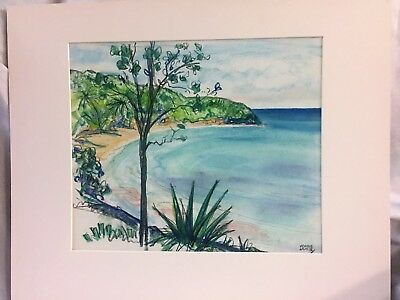 Vintage Condie Lamb Pastel Chalk Drawing Sketch St Lucia Beach Mountain Bagshaws