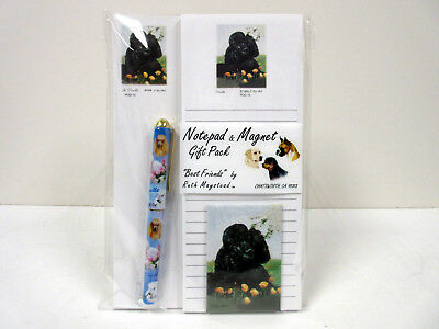 New Poodle in Flowers List Pad Note Pad Magnet Pen Stationery Gift Pack POD-15