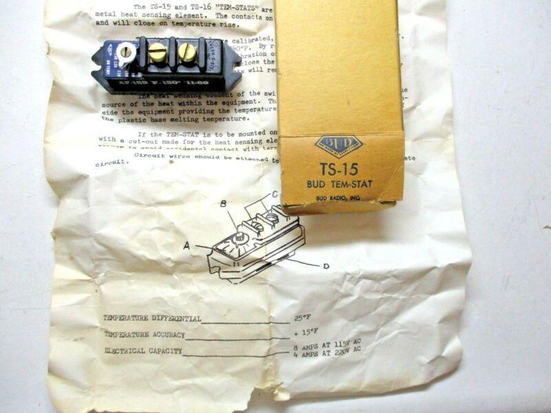 Vintage Bud Radio USA Tem-Stat TS15 Therm-O-Disc 80-170 Degrees F Temp Shut Off