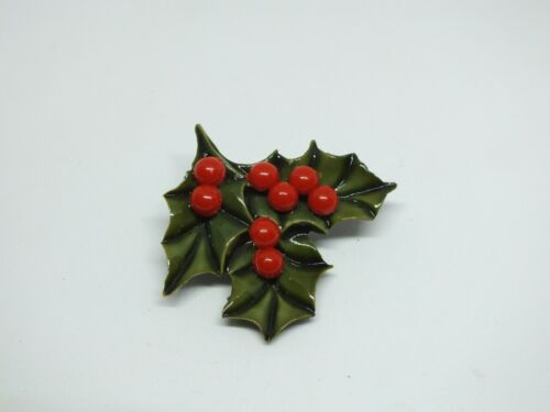 Beautiful Brooch Gold Tone Christmas Holly Leaves Green Enamel Red Beads 2x1 7/8