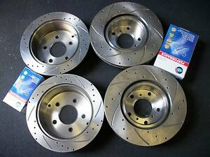 Full Set Commodore VT VU VX VY VZ DRILLED & SLOTTED Disc Rotors + Brake Pads