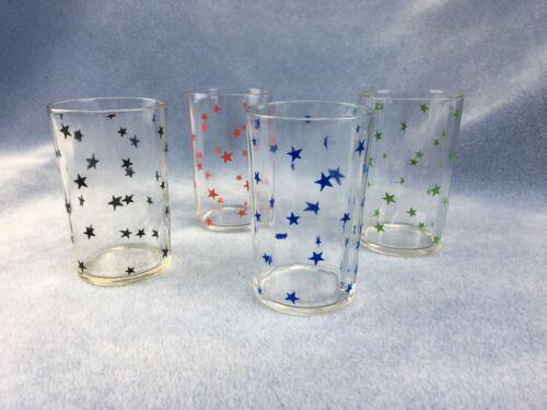 Vintage Swanky Swigs Set of 4 Juice Glasses - Stars - Red - Green - Blue - Black