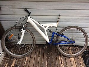 Blue and white mountain bike frame
