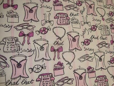 One Yd Jo Ann Chit Chat Telephone Fabric Cotton Flannel Quilt Pink 45 X 36   Bty