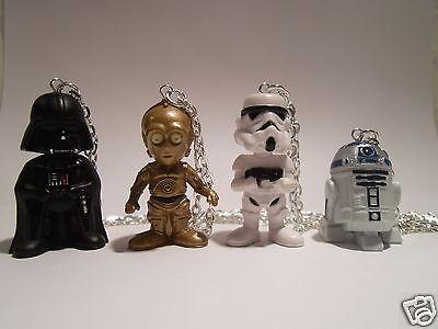 "3D Star Wars Darth Vader, R2D2, C3PO, Storm Trooper With 20"" Necklace"