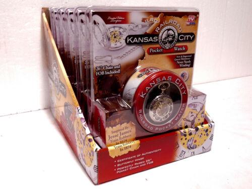 Six (6) Kansas City Railroad Pocket Watch w/ Original Merchandising Carton, NOS