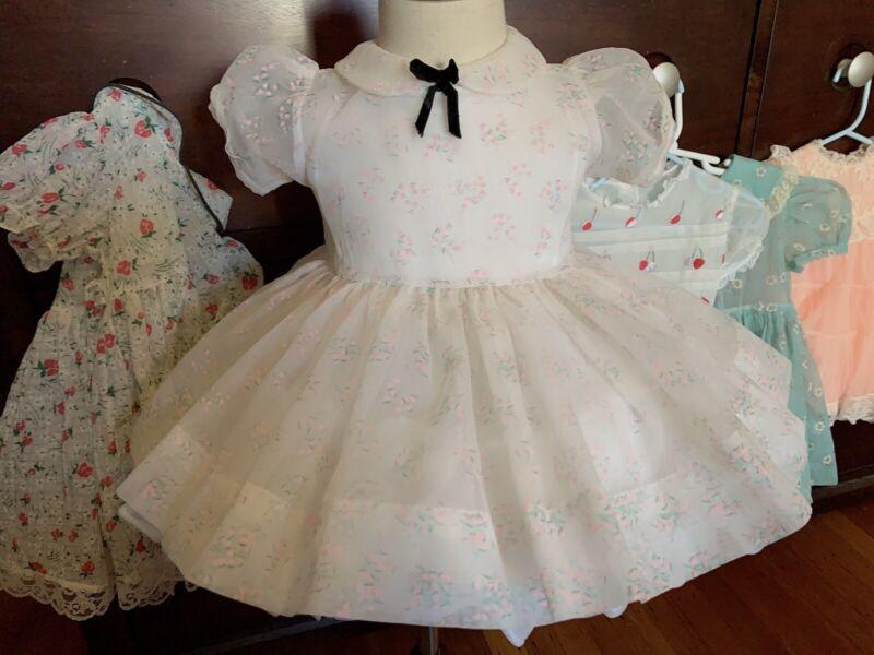 Vintage girls flocked sheer dress