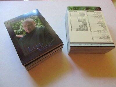 Game of Thrones Season 7 Complete 81 Card Base Set - Series Seven w/ Promo P1