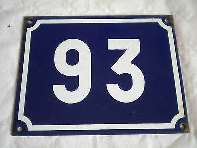 Vintage Original French Enamel House Number Large Blue/white No 93 18 x 14cms
