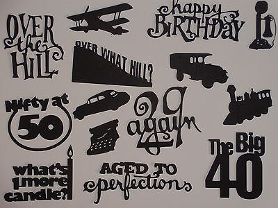 14 piece OVER the HILL words and confetti scrapbook die cuts greeting die cut