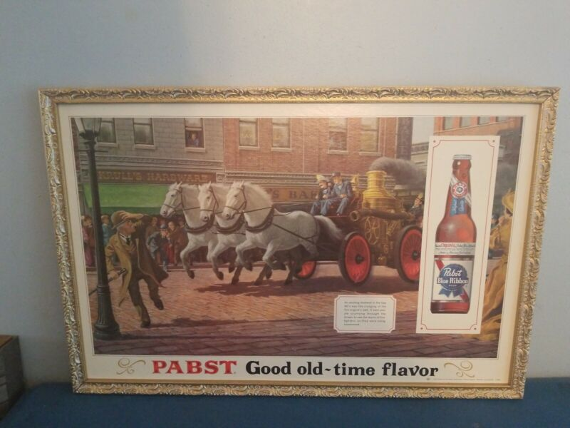1960s Pabst beer sign wood framed cardboard fire fighter wagon & horses rare