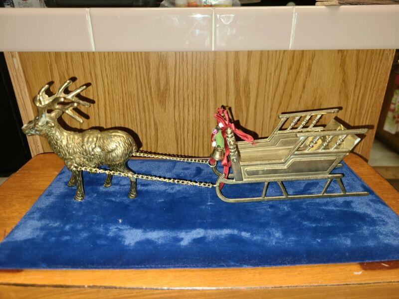 Vintage Solid Brass Sleigh And Reindeer Christmas Holidays
