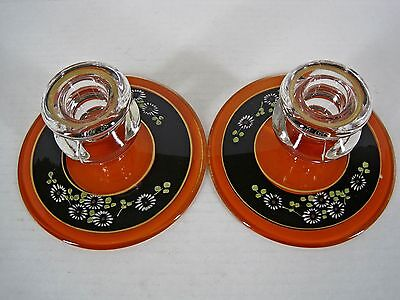 2 Vintage Reverse Painted Glass Candle Holders Orange Black Flowers - Halloween Glass Candle Holders