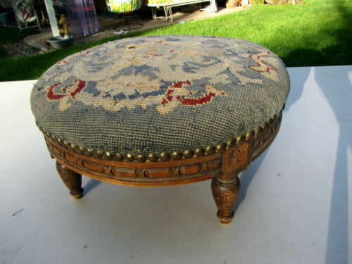 "ANTIQUE FOOT STOOL FOUR LEG TAPESTRY TOP 14"" x 7"" ORNATE CARVED WOOD"