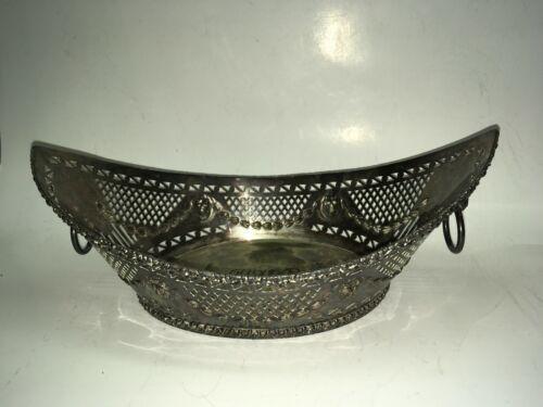 Antique  Barker Ellis Reticulated Silverplate Bread Basket Lion Head Loop Handle
