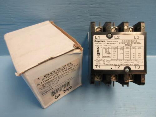 Tyco Electronics ACC633U10 Contactor Model 93 60 Amp 600V 3P 30HP 24Vac *New*
