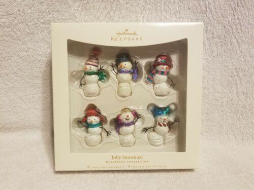 Jolly Snowmen Miniature Set of 6 Hallmark Keepsake Ornaments NEW 2006