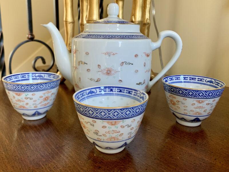 Vintage 4 Pcs Blue And White Rice Eye Pattern Asian Style Tea Set
