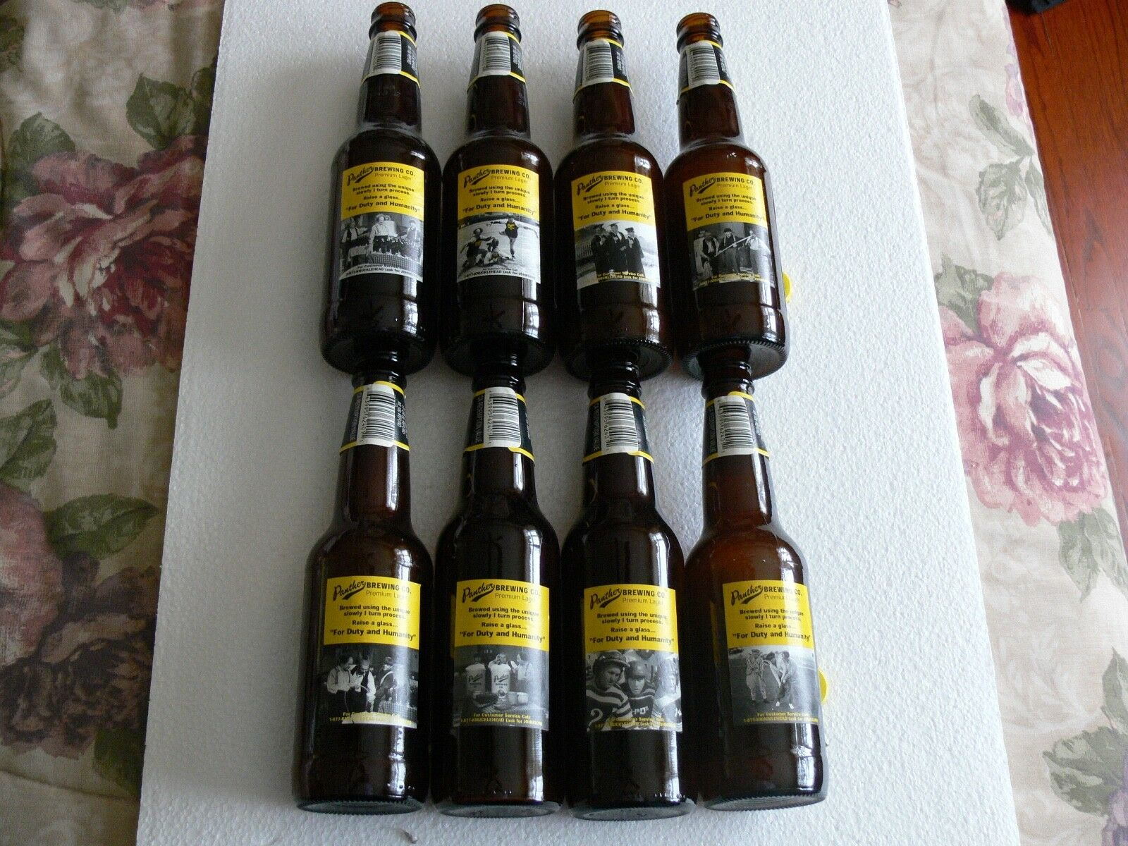 Photo 1999 Panther Brewing Three Stooges Beer Bottles (Set of 8 - Diff. back labels)