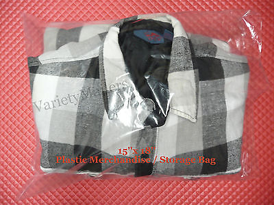 25 Large 15x 18 Clear Flat Plastic Merchandise Storage Bags 1.5 Mil