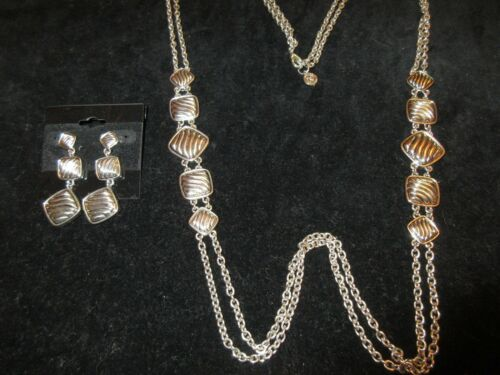 Napier Set Necklace Earrings Silver Tone Layered Chain Long Statement Chic