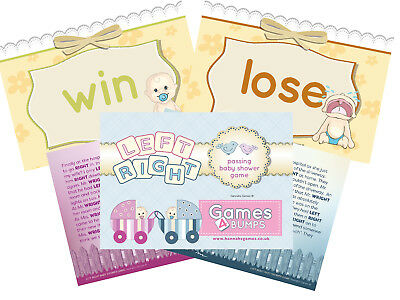 Modern Baby Shower Games (Left Right Passing Activity Baby Shower Party Game Boy Girl Unisex)