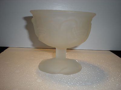 vintage mini white frosted glass pedestal bowl by avon