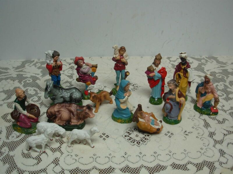 16 PCS VINTAGE MADE IN JAPAN HAND PAINTED COMPOSITION CHRISTMAS NATIVITY