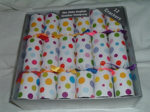 """Olde English Cracker Co. Polka dots & Ribbons 10"""" Crackers for All Occasions NEW"""