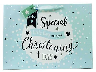 Christening Day Extra Large Wide Blue Gift Bag Special Boy New Baby Him Jumbo XL - Extra Large Baby Gift Bags