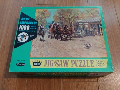 Stagecoach Arrival - Old West - Vintage Whitman/Crown Jigsaw Puzzle - No. 4710