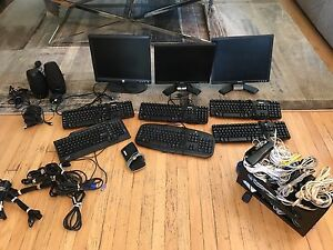 Office closing! Monitors keyboards cables phone speakers