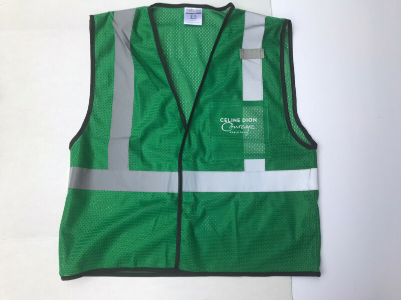 Celine Dion 2019 Courage Tour Local Crew ML-Kishigo Safety Vest L-XL Green New