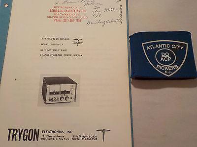 Trygon Model Shr60-1a Silicon Half Rack Power Supply Instruction Manual