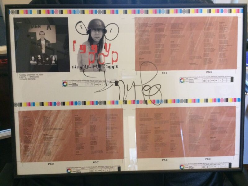 Framed Autographed IGGY POP Poster Naughty Little Doggy Album Iggy & The Stooges