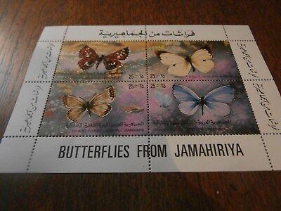MNH JAMAHIRIYA Butterflies MINATURE SHEET of 4 STAMPS ***SALE***(3)