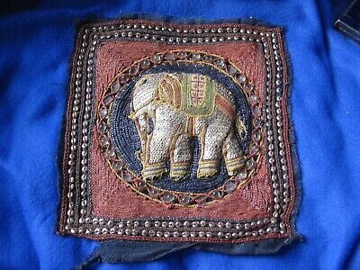 HAND BEADED & SEQUIN ELEPHANT ASIAN TAPESTRY SQUARE #1