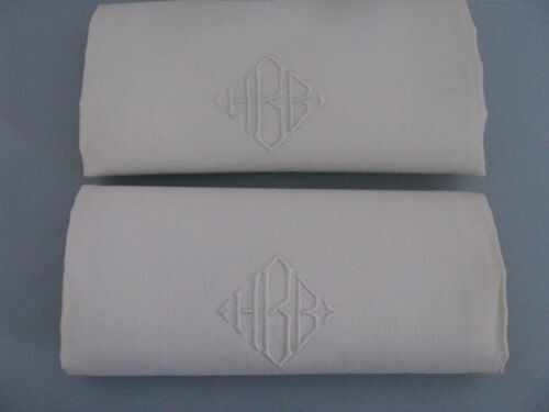 "2 VTG LARGE LINEN TOWELS  WHITE DAMASK EMBROIDERED MONOGRAM HBB 41/27"" ANTIQUE"