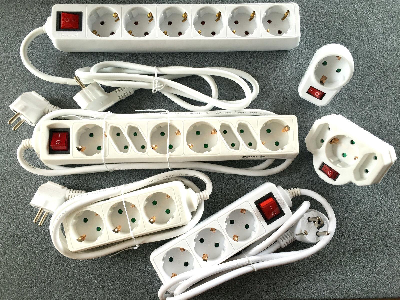 Steckdose Schalter 3fach 6fach 8fach Steckdosenleiste Steckerleiste 3m 5m Kabel
