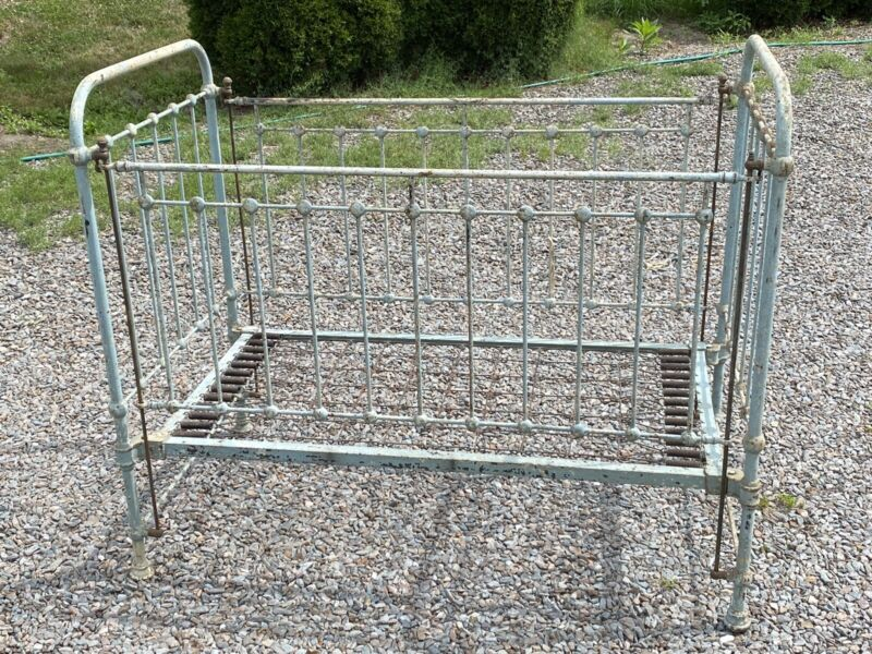 Antique Ca. 1910 CAST IRON CRIB, Baby Blue, Origianl Springs ~ She Shed Day Bed?
