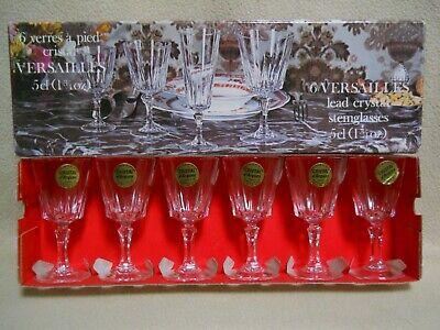 6 Vintage Versailles Lead Cristal d' Arques 1 3/4 oz Cordial Cocktai Glasses