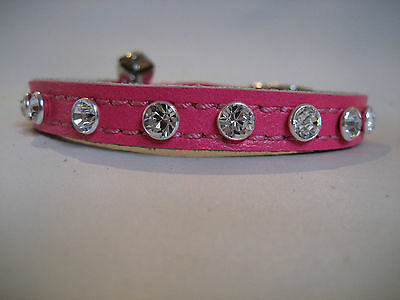 LEATHER DIAMENTE FLURO PINK CAT COLLAR