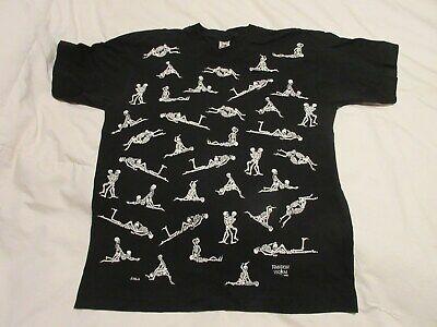 Halloween Shirt Costume Steam Punk Black White Kama Sutra Skeletons Rare
